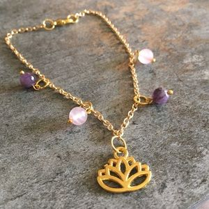 Jewelry - Handmade Lotus Natural Stones Anklet